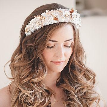 Bride wearing embelished headband