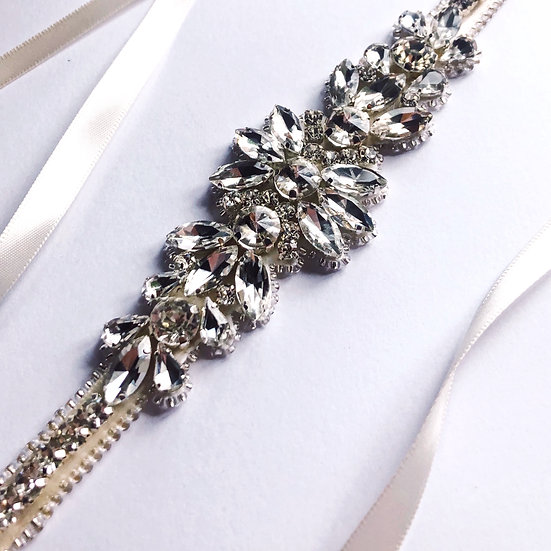 Couture / flower crystal belt sash - Silver