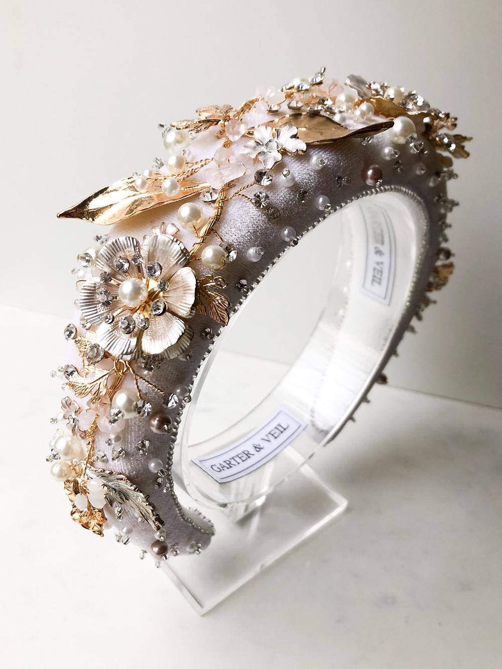Botanical white bridal headband