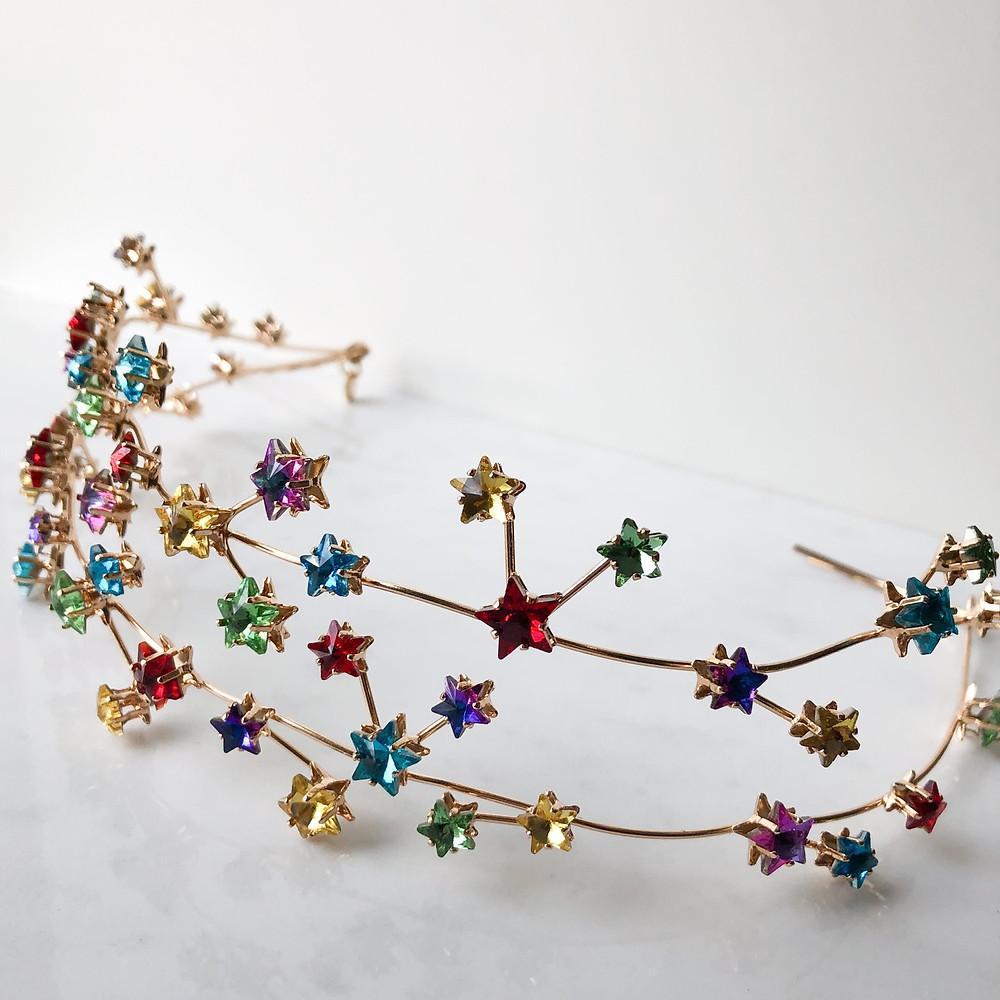Multi coloured crystal star crown