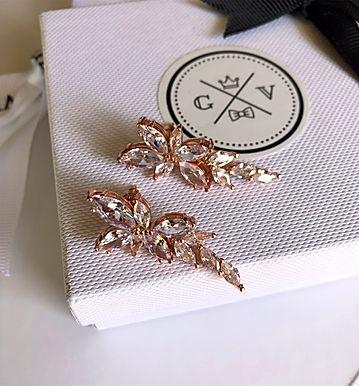 FLEUR Marquise Crystal Earrings (Rose Gold)
