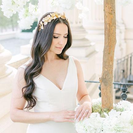 Brunette bride in gold flower crown