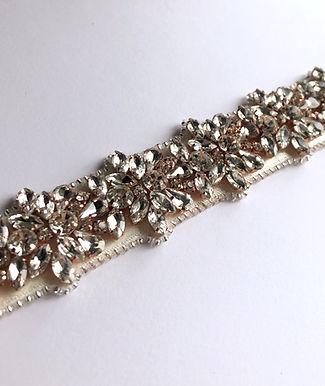 Couture / Flower formation crystal belt sash - Rose Gold