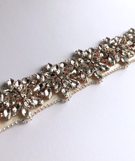 Couture / Flower formation crystal belt sash - Rose Gold