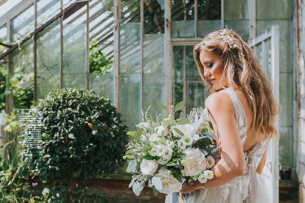 blond bride wearing hair accessories with bridal bouquet