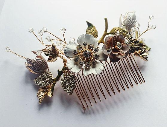 handmade floral bridal hair comb
