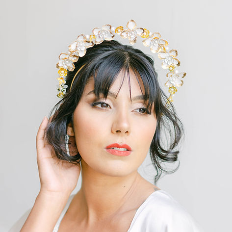bride in floral wedding halo