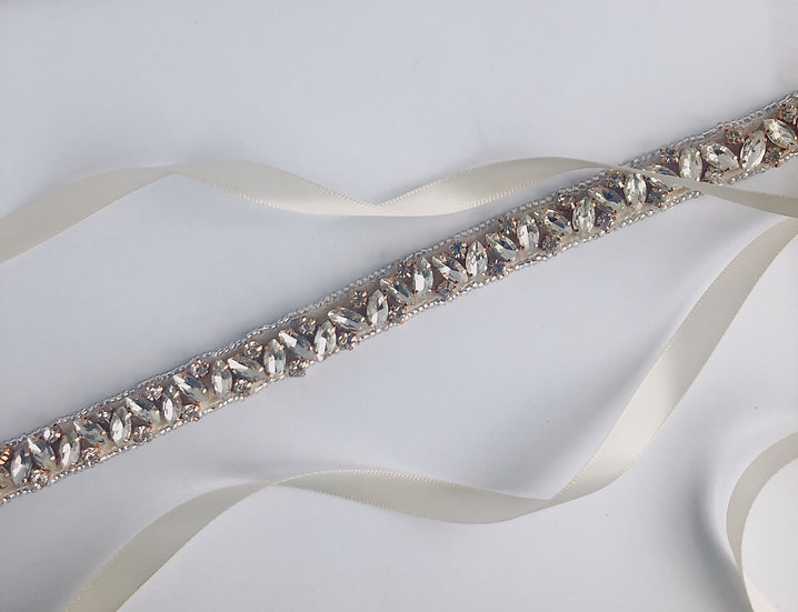 Couture / Marquise crystal narrow belt sash - Rose Gold