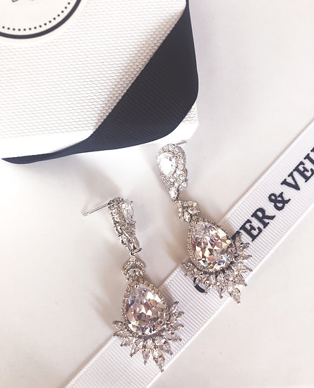 HERMES Crystal Drop Earrings