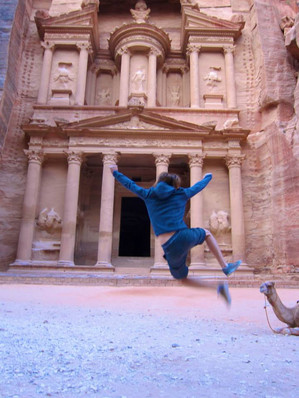 Petra and a camel (that I'm not kicking, promise)