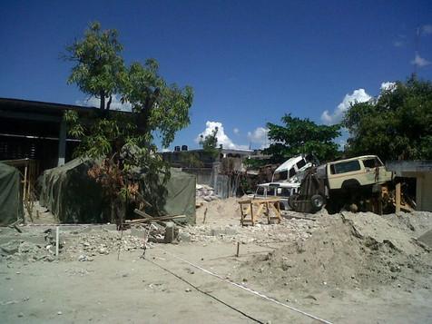 Turning junk yard into Cholera hopsital in Haiti