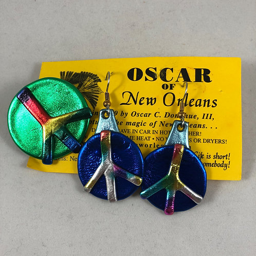 Iridescent Peace earrings and pin set