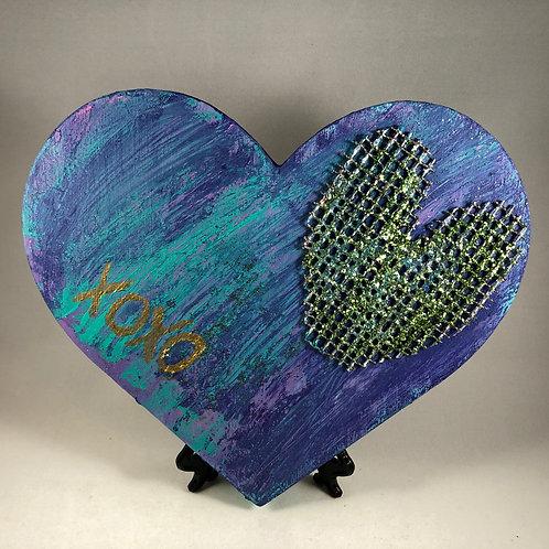 Sea Purple Gold Mesh heart