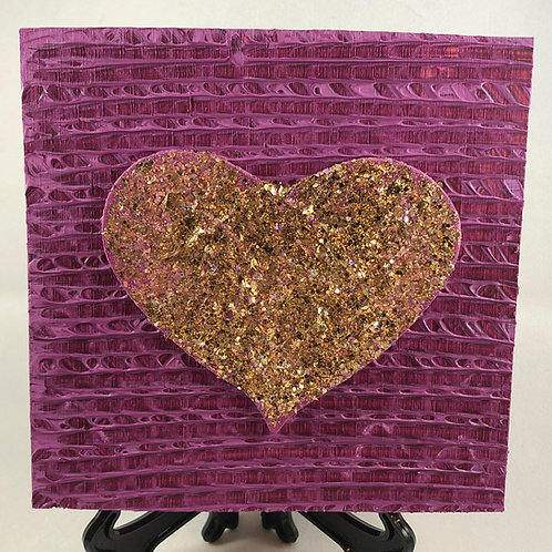 Gold Heart and Pink square