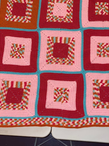 Pink with Turquoise Afghan
