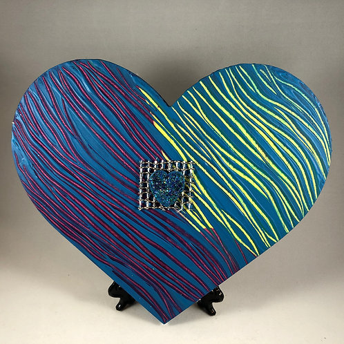 Blue Purple and Yellow Waves heart