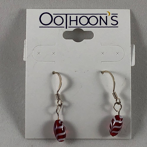 Red with White Stripes earrings