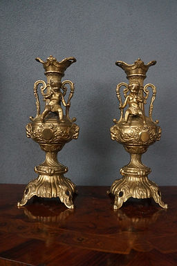 French Victorian Moreau Bronze Dore Vases