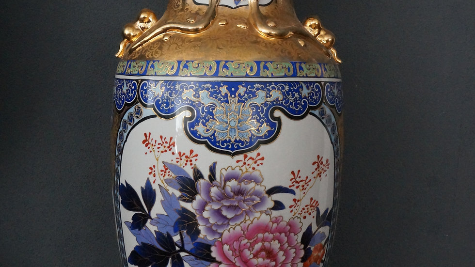 Порцеланова ваза златно покритие 24 карата