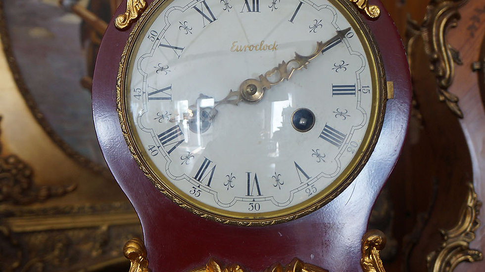 Каминен часовник дърво и бронз