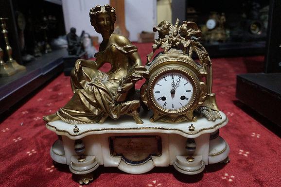 Каминен часовник бронз мрамор