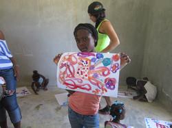 Village girl displays her art skills