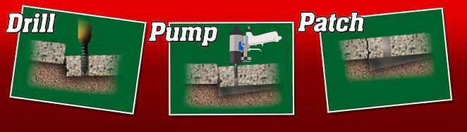 Drill pump patch. How we raise your broken concrete through mudjacking concrete lifting