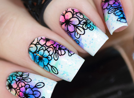 INK NAIL ART | Summer nailart using Pueen stamping products and Halo Dye Blossom Inks