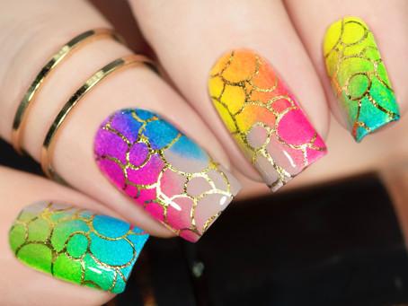 FOILED STAMPING NAIL ART   Summer neon nails