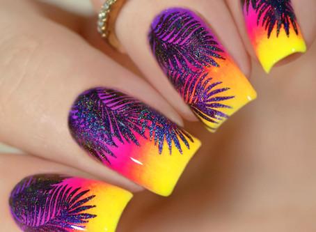 TROPICAL NAIL ART | Nail Stamping With Pigment Powder