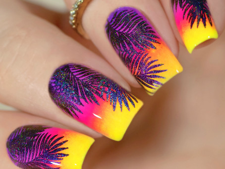 TROPICAL NAIL ART | Nail Stamping With Pigment Powder