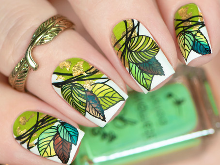 FALL LEAVES NAILS | Layered Stamping Nail Art with Clear Jelly Stamper