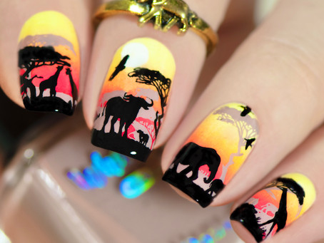 SAFARI LANDSCAPE NAILS 🐘 Nails Double Stamping