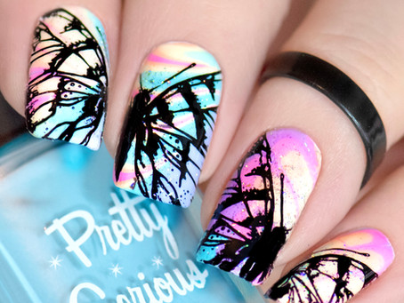 Watermarble Butterfly Nail Design