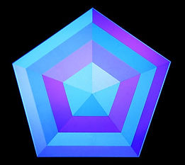 Hexagon under influence of blue light