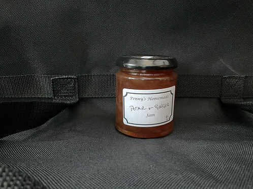 X Pear and Ginger Jam made by Penny Russell in 1/2 pound and 1 pound jars
