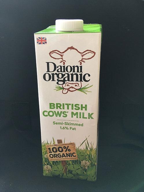 SR Long Life Organic Semi Skimmed Milk 1 Litre