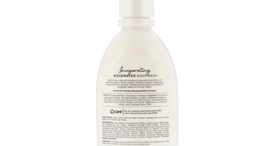 Jason Natural Body Wash, Invigorating Rosewater, 30 fl oz