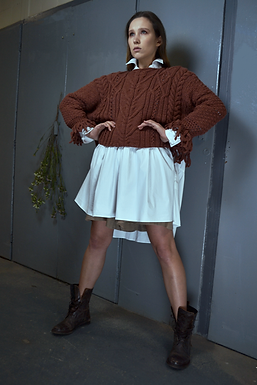 Hand-Knitted Fringes Sweater