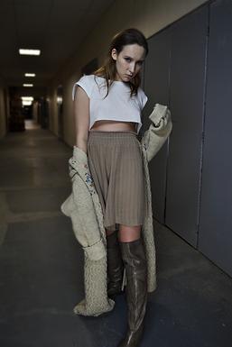 Knee -Length Oversized Wool Shorts