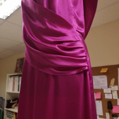 Draping fuchsia slip dress
