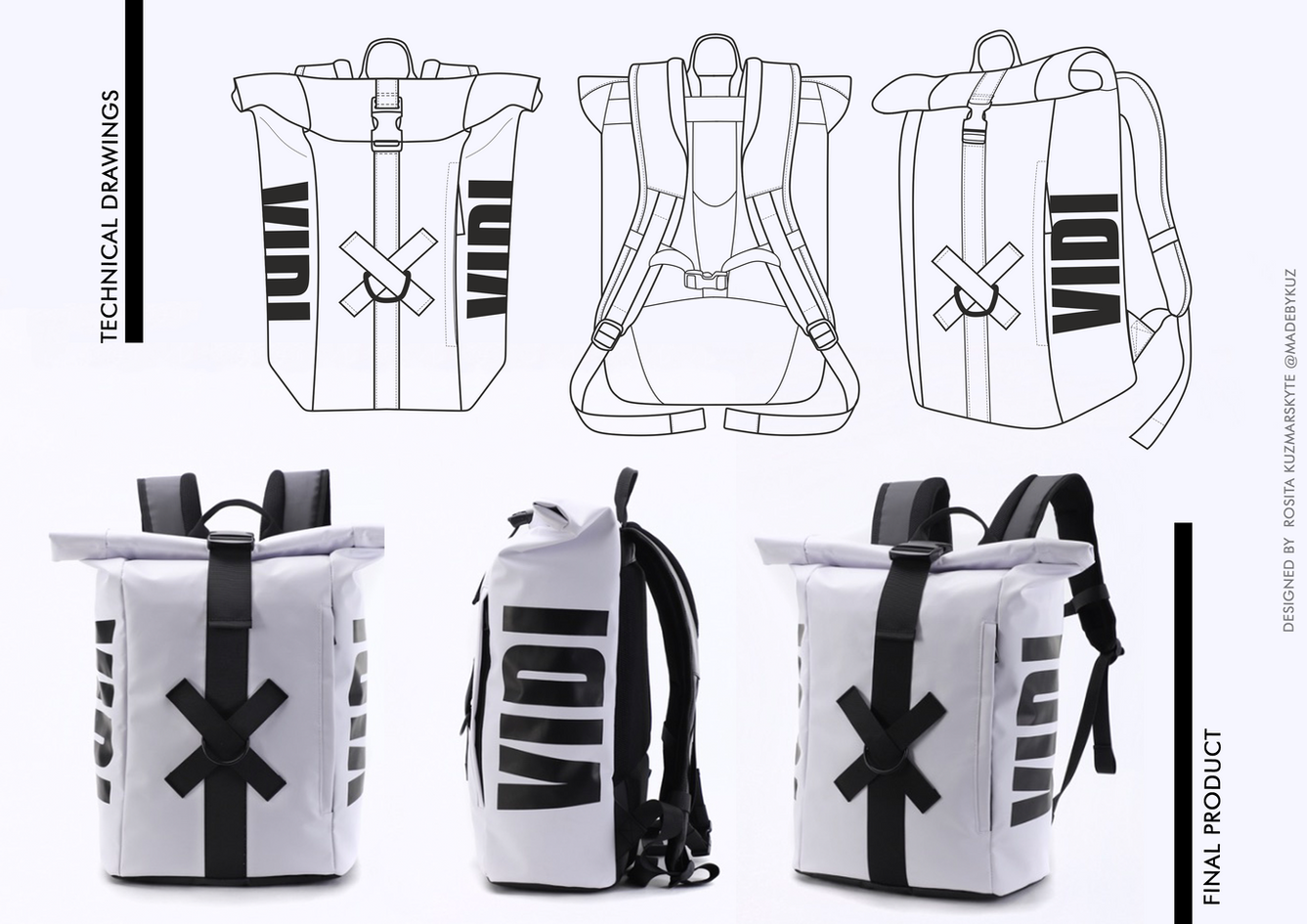 Backpack technical drawing and outcome