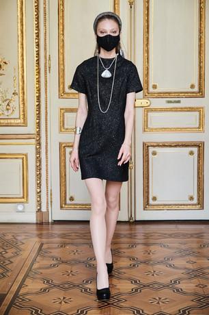 Short black tweed dress