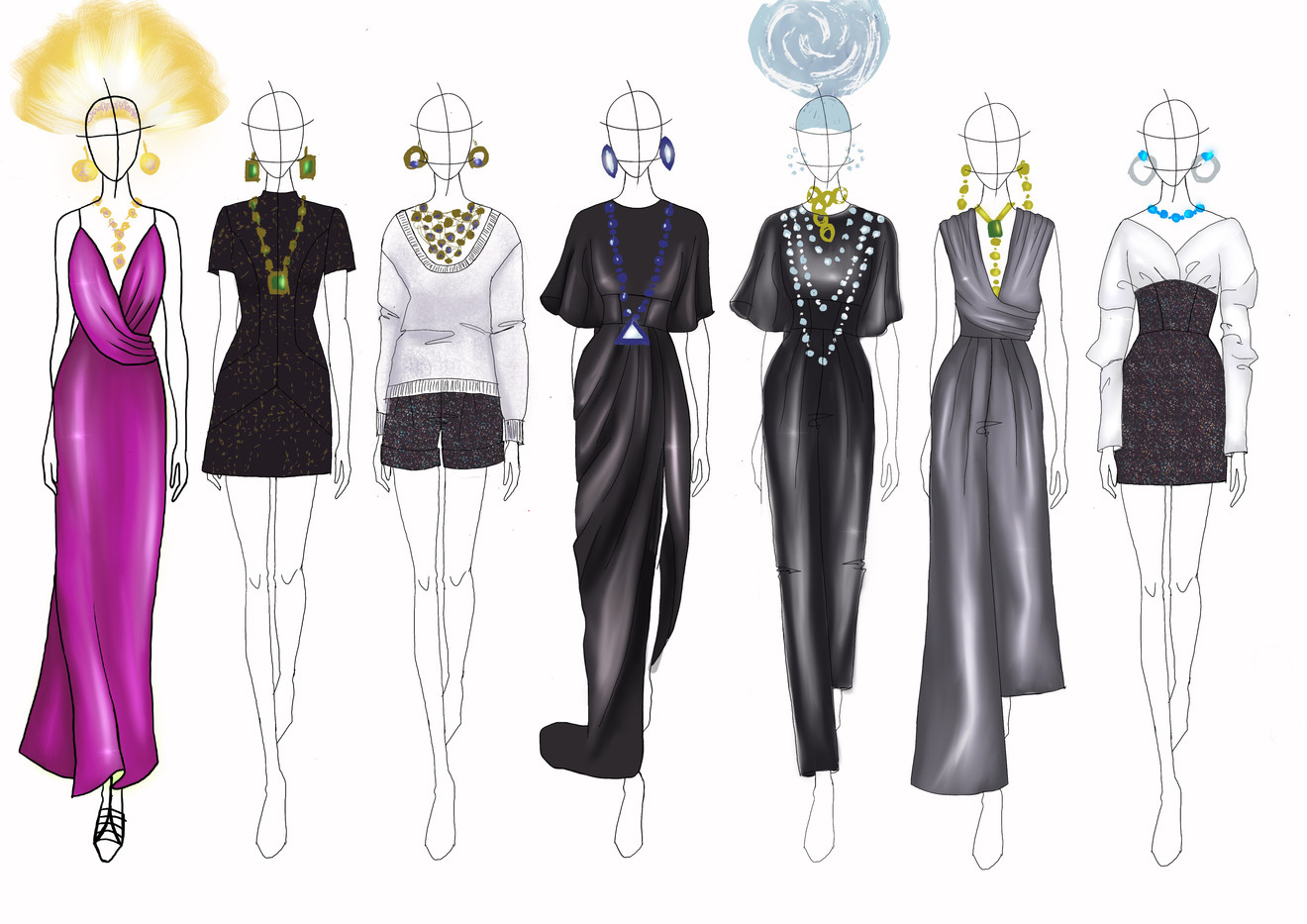 Initial fashion line sketches for Lesunja Jewellery