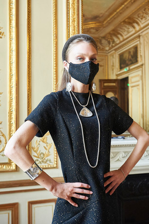 Black mini tweed dress + face mask