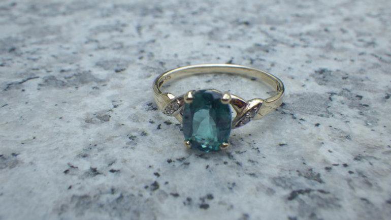 Topaz and Diamond 9k Gold Ring