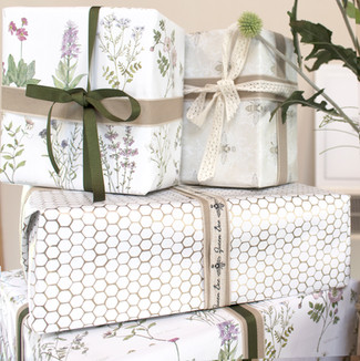 New Wrapping Paper added to Hackney & Co shop: Orkney Wildflower, Queen Bee & Honeycomb Geo