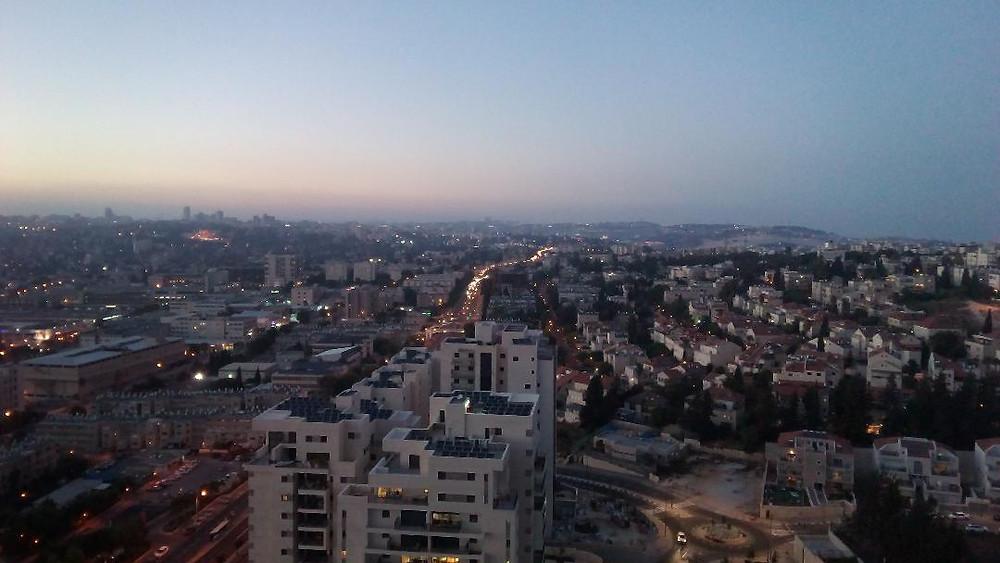 Enjoy the view of Jerusalem at dusk.