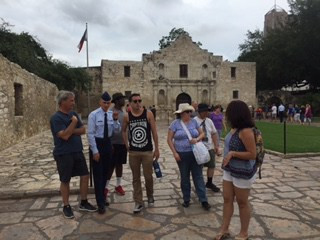 View of The Alamo with family