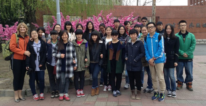 Norine Rae with her freshman class from Beijing International Studi